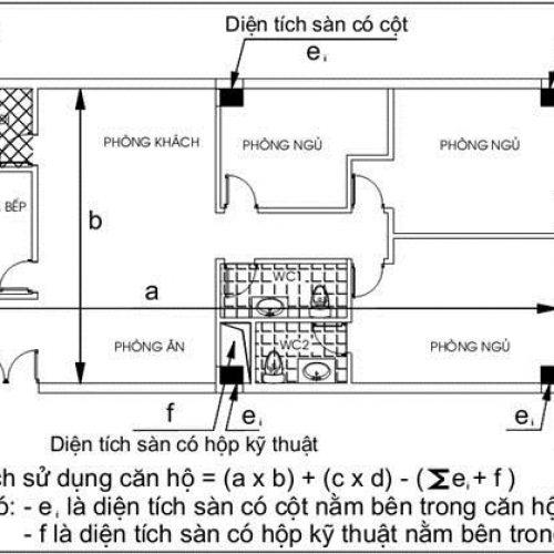 Cách tính diện tích thông thủy, diện tích tim tường căn hộ theo luật